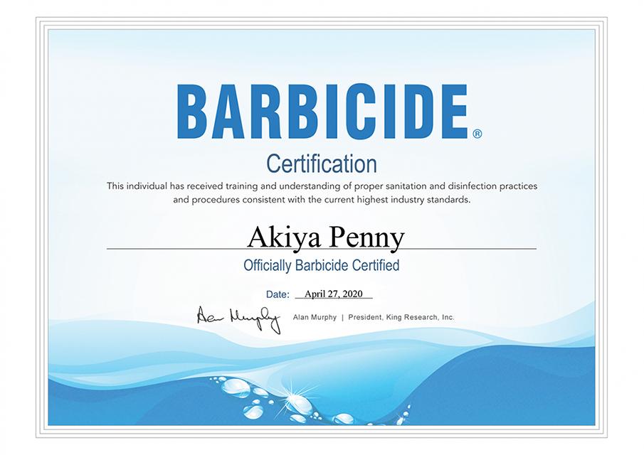 Barbicide Certified - April 27, 2020
